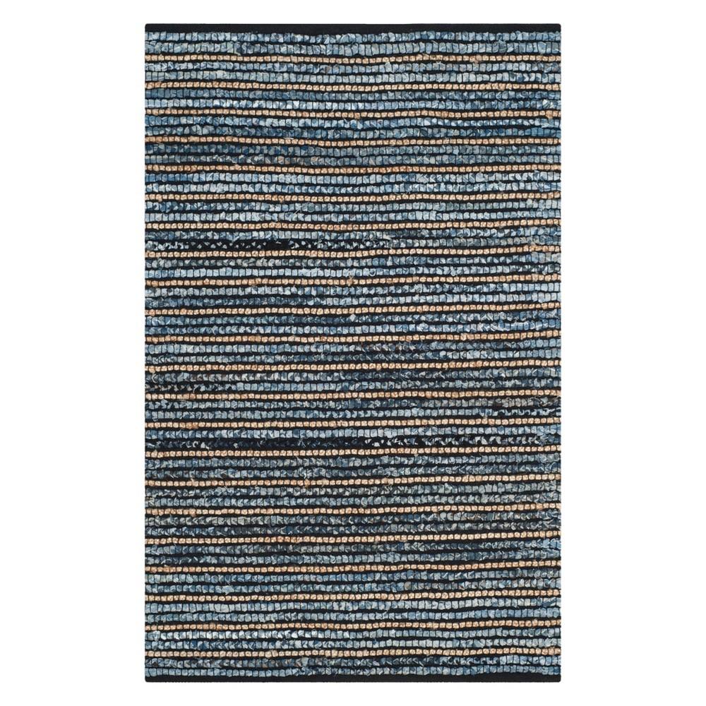 5'X8' Stripe Area Rug Blue/Natural - Safavieh