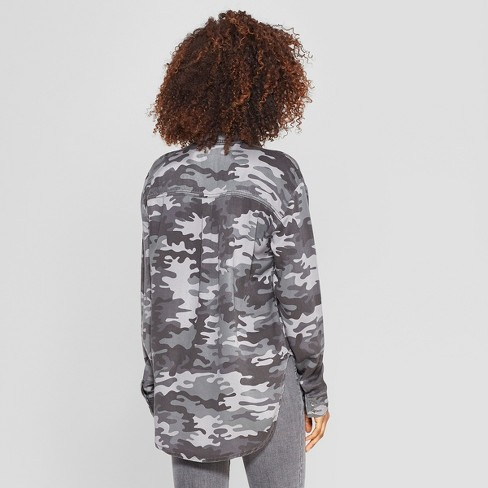 a6820b798 Women's Camo Print Long Sleeve Embroidered Button-Down Shirt - Knox Rose™  Gray : Target
