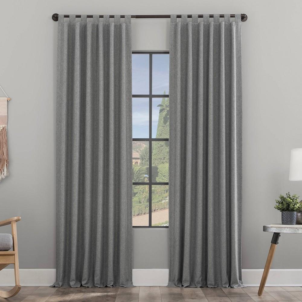 96 34 X50 34 Heathered Texture Recycled Fiber Semi Sheer Tab Top Curtain Panel Gray Clean Window