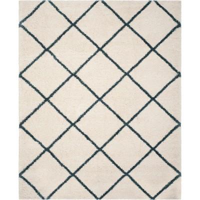 9'X12' Hudson Shag Area Rug Ivory/Slate Blue - Safavieh