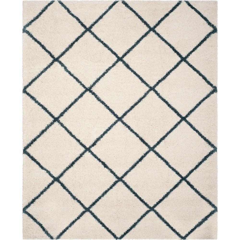 9'X12' Geometric Loomed Area Rug Ivory/Slate Blue - Safavieh