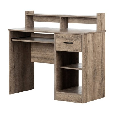 Axess Desk with Keyboard Tray Weathered Oak - South Shore
