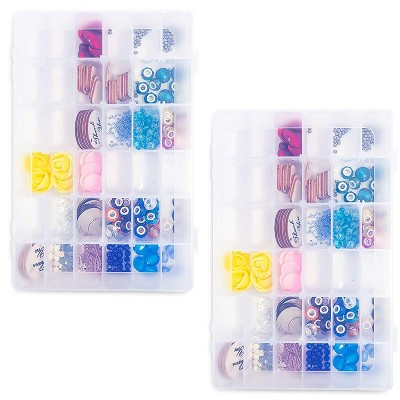 2x Plastic Organizer Box w/ 36 Compartments Craft Storage for Beads Sewing Tools