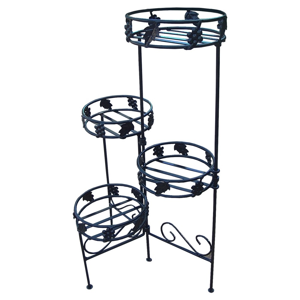 "Image of ""24"""" Oakland Oval 4-Tier Plant Stand - Black"""