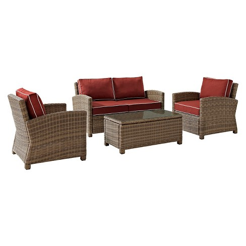 Crosley Bradenton 4 Piece Outdoor Wicker Seating Set with Sangria Cushions - image 1 of 6