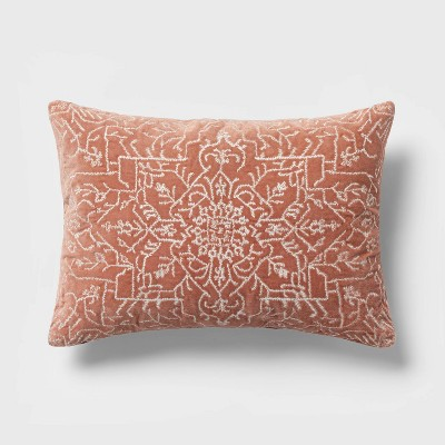 Oblong Velvet Embroidered Decorative Throw Pillow Warm Blush - Threshold™