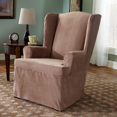 Soft Suede Wing Chair Slipcover Sable - Sure Fit