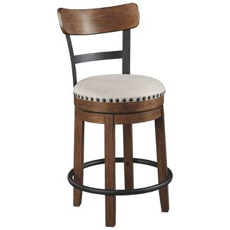 Valebeck Upholstered Swivel Barstool Brown - Signature Design by Ashley