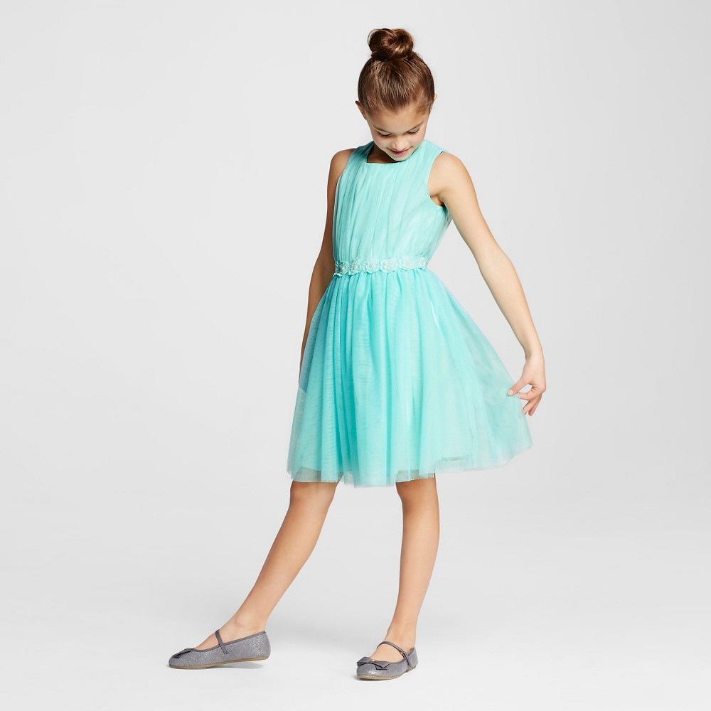 Lots of Love Girls' Fit and Flare Dress - Blue 12
