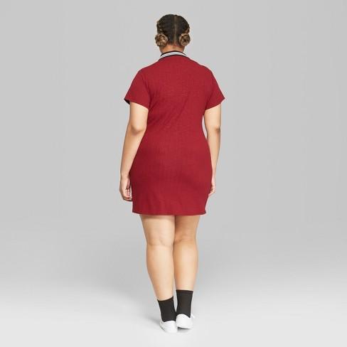 Womens Plus Size Short Sleeve Quarter Zip Collared Rib Knit Dress