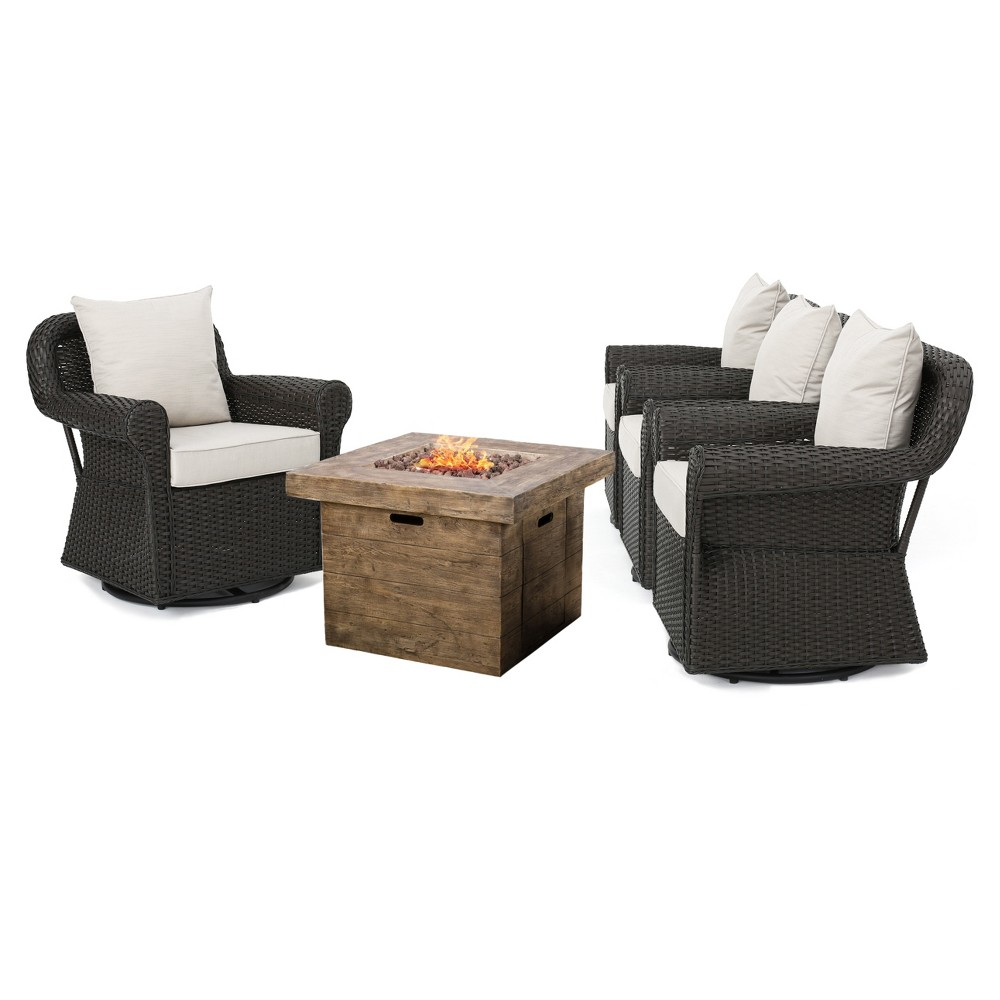 Arlington 5pc All-Weather Wicker Patio Chair Set w/ Fire Pit - Dark Brown - Christopher Knight Home