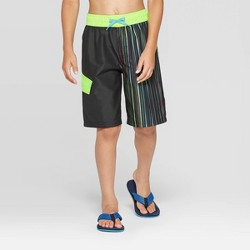 Boys' Vertical Stripe Swim Trunks - Cat & Jack™ Black