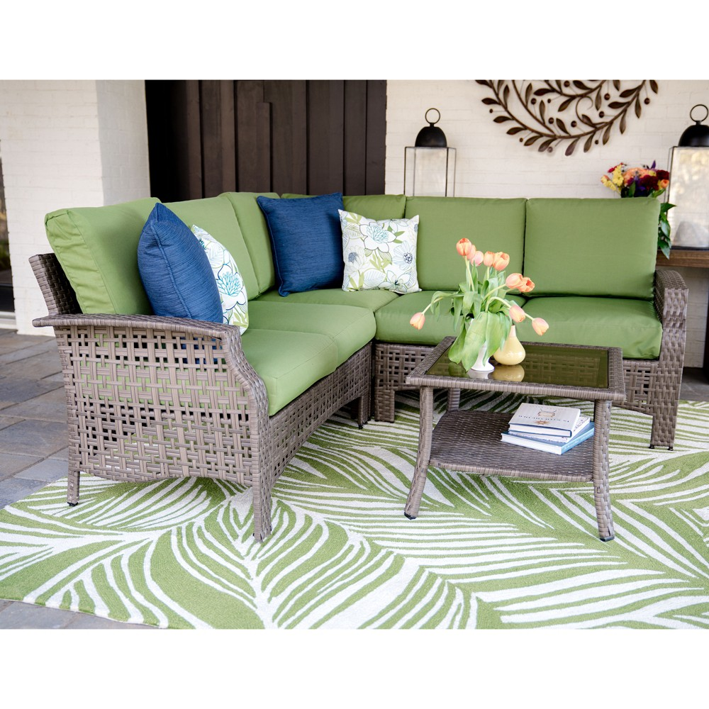 4pc Concord All-Weather Wicker Corner Sectional Green - Leisure Made