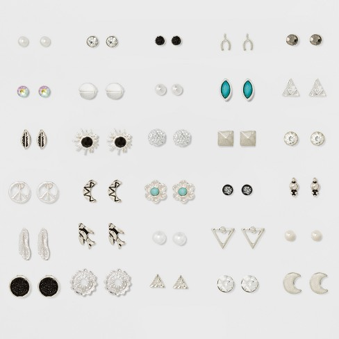 Thirty Pack with Moon, Glitter Paper and Stone Earring Set - Rhodium - image 1 of 2