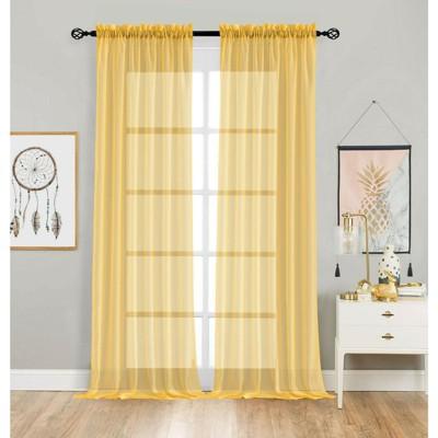 Designer Sheer Voile Rod Pocket Curtains For Small Windows