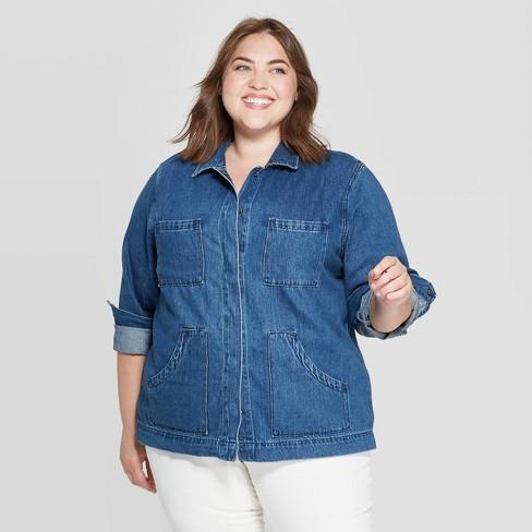 Women's Plus Size Denim Chore Jacket - Universal Thread™ Medium Wash - image 1 of 3