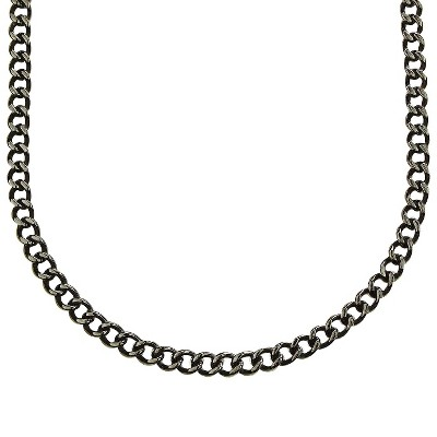 "Men's Crucible Stainless Steel Large Curb-chain Necklace - Black (24"")"