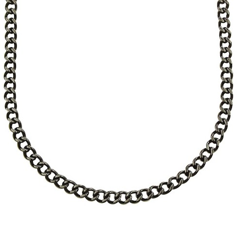 cbb7a87f2e319 Men's Crucible Stainless Steel Large Curb-chain Necklace - Black (24