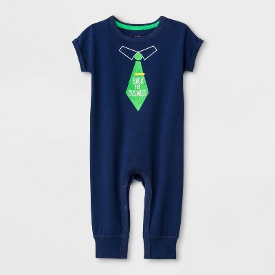 Baby Boys' 'Back to Business' Romper - Cat & Jack™ Blue Newborn
