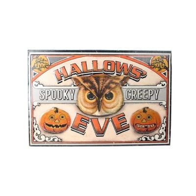 "Raz Imports 18"" Halloween Stamped ""Hallows' Eve"" Metal Wall Art - Orange/Black"