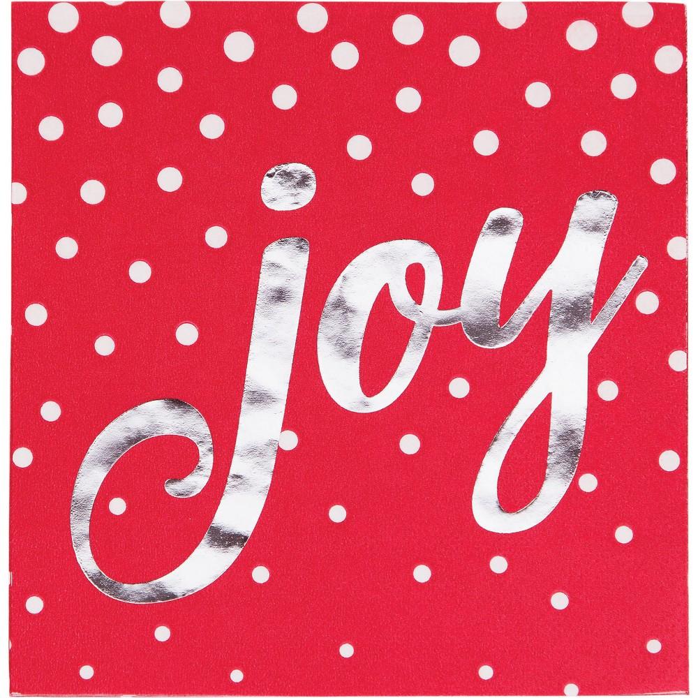 Foil Stamped Holiday Joy Red Beverage Napkins Red
