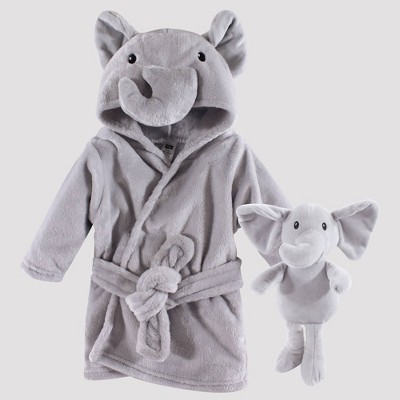 Hudson Baby Elephant Snuggle Time Box Bath Wraps Set - Gray 0-9M