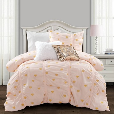 Lush Décor Distressed Metallic Heart Print Comforter & Sham Set