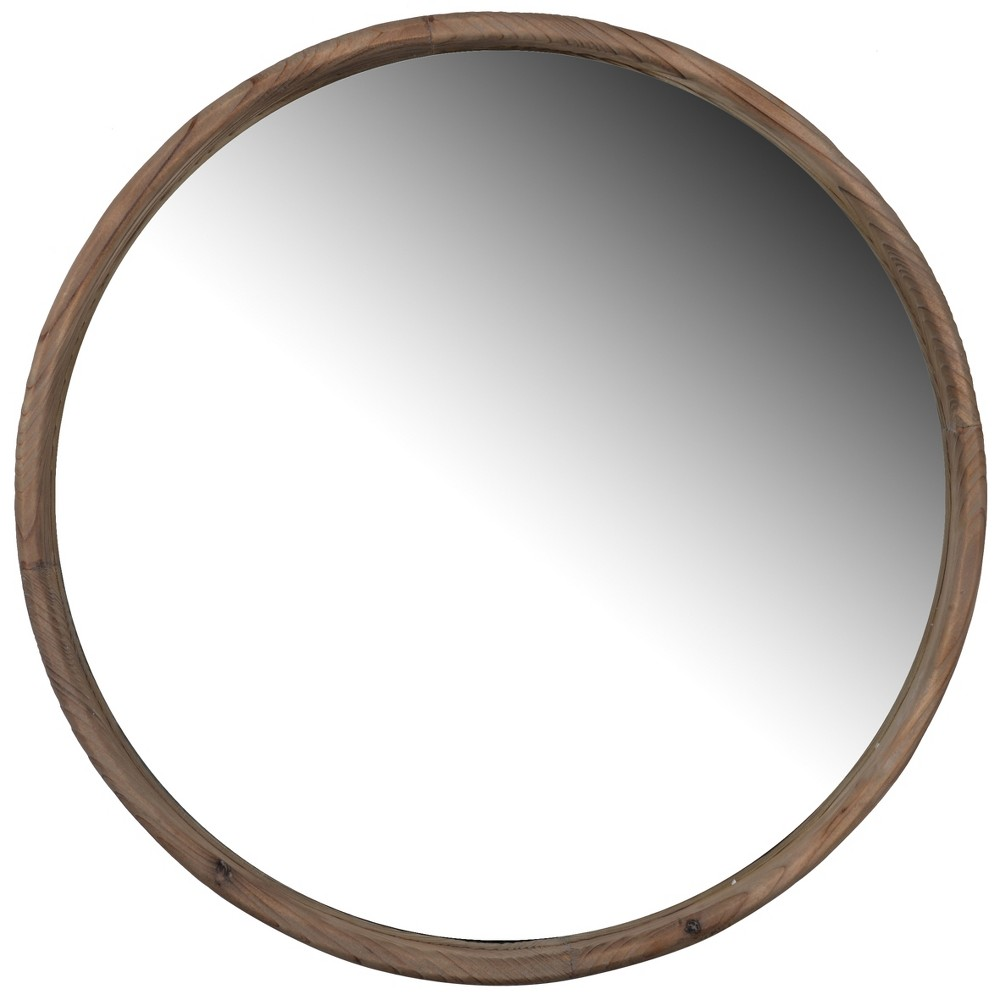 Round Decorative Wall Mirror 24 x 24 Antique Wood - A&b Home