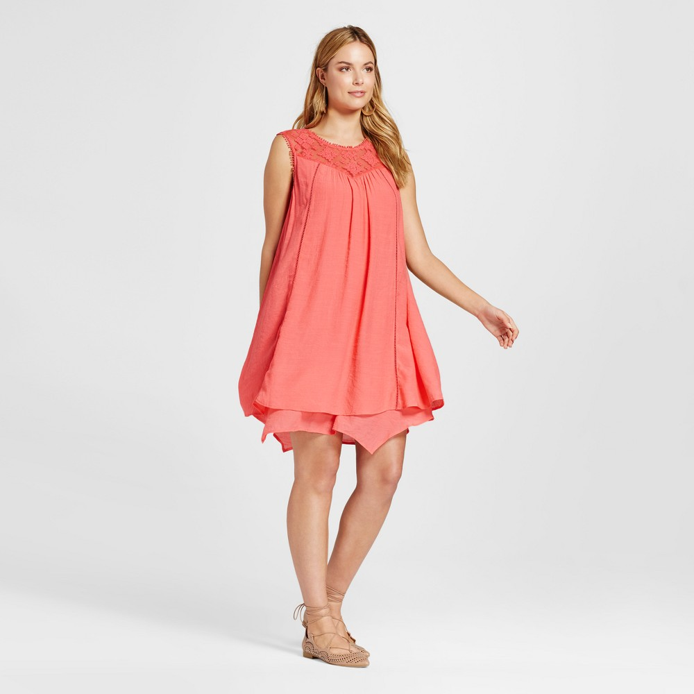 Image of Women's Trapeze Dress with Lace Illusion Yolk - John Paul Richard - Coral M, Size: Small, Pink