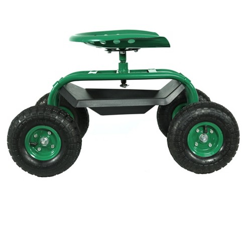 rolling garden cart with swivel seat and tray green sunnydaze decor target - Garden Cart With Seat