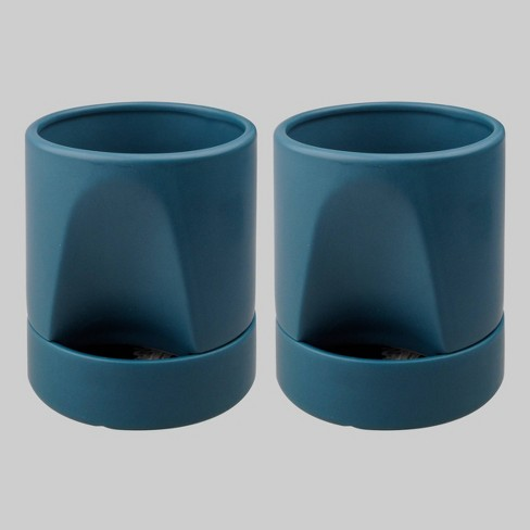 2pk Ceramic Planter With Tray Teal - Bullseye's Playground™ - image 1 of 2