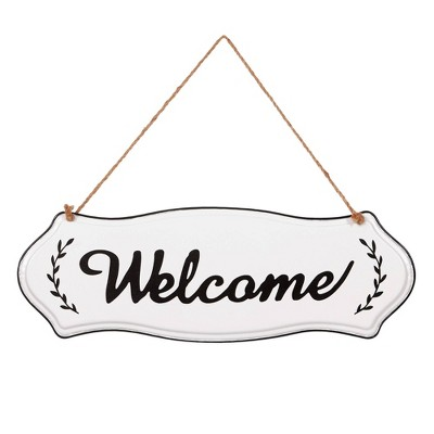 Hand Painted Welcome Tin Enamel Wall Sign with Jute Rope Off White/Black - Patton Wall Decor