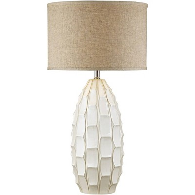 Possini Euro Design Mid Century Modern Table Lamp Ceramic White Handcrafted Beige Fabric Drum Shade for Living Room Family Bedroom