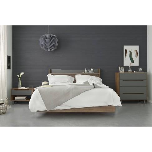 4pc Queen Neptune Bedroom Set Walnut/Charcoal - Nexera - image 1 of 4