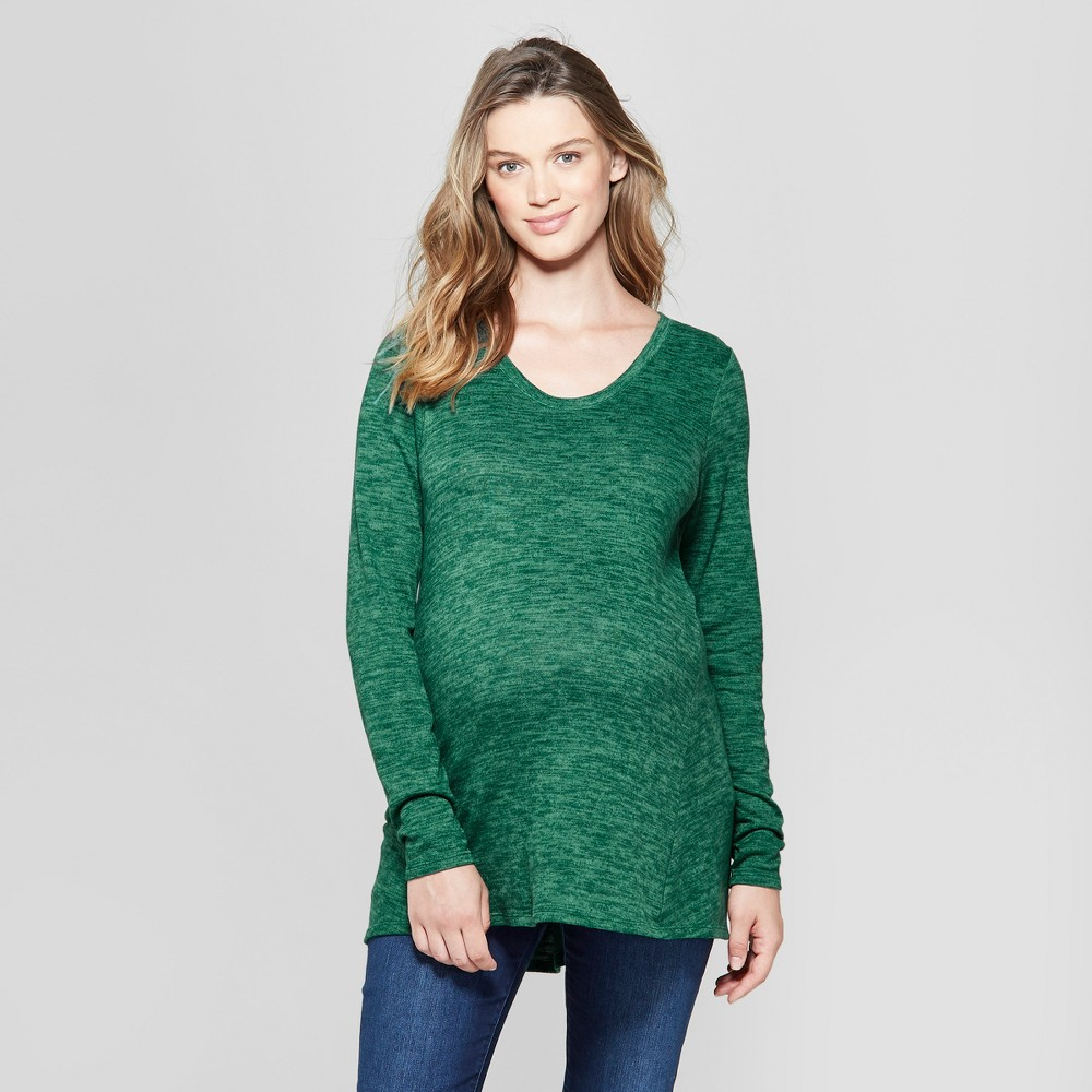Maternity Relaxed Long Sleeve T-Shirt - Isabel Maternity by Ingrid & Isabel Green Heather L, Women's