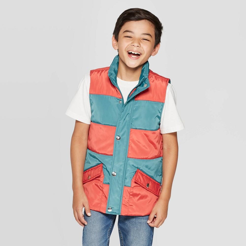 Image of Boys' Full Length Zipper Vest - Cat & Jack Orange/Blue L, Boy's, Size: Large
