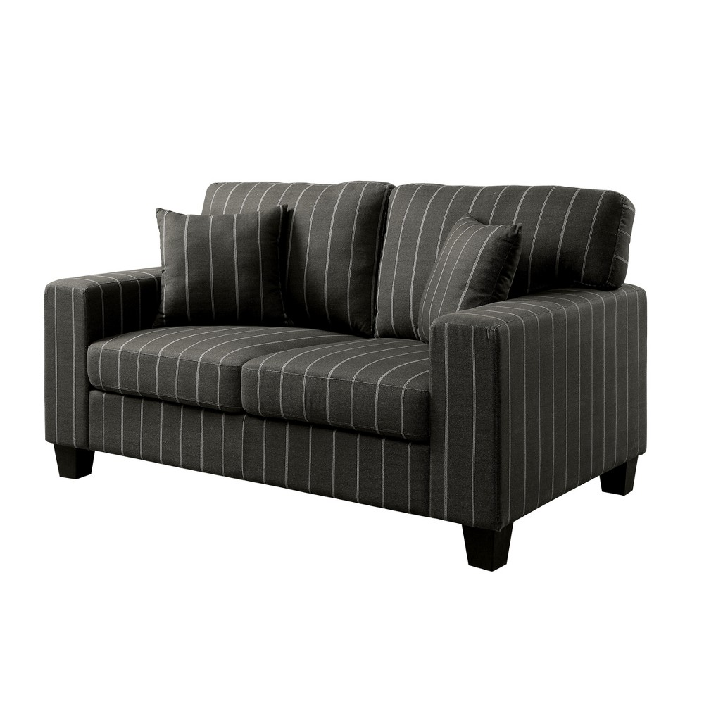 Sofas Dark Gray - miBasics A fashion inspired design makes this Nova Pinstriped Love Seat a chic update to your living room. The vertical stripes enhance the straight lines of this appealing love seat. Color: Dark Gray. Gender: Unisex.