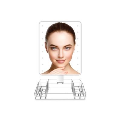 Oversized LED Vanity Mirror with Acrylic Organization Base White - Coby