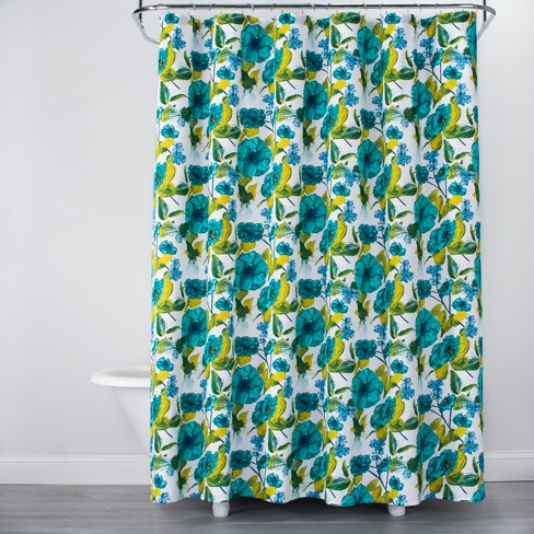 Floral Print Shower Curtain Teal Blue White
