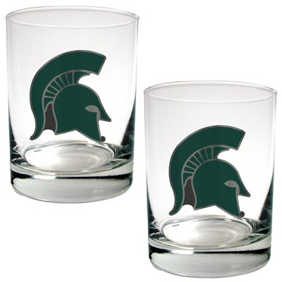 NCAA Michigan State Spartans 15oz Rock Glass Set 2pk