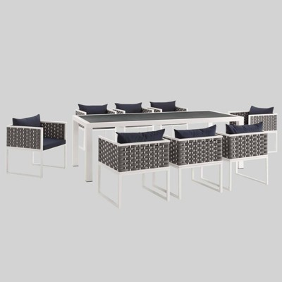 Stance 9pc Outdoor Patio Aluminum Dining Set - White/Navy - Modway