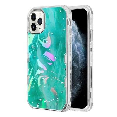 MYBAT Tuff Kleer Hybrid Marble Hard Plastic TPU Case For Apple iPhone 11 Pro, Green