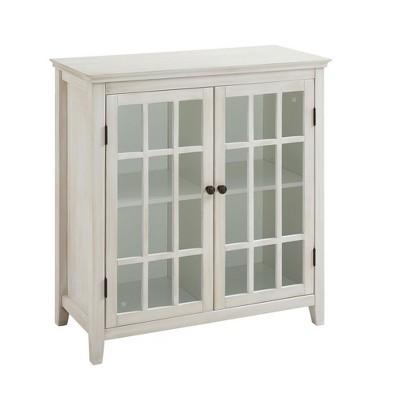 Largo Antique Double Door Cabinet White - Linon