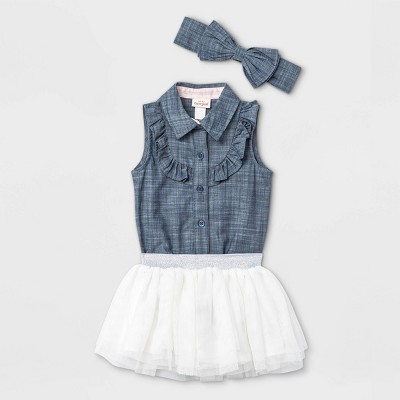 Baby Girls' Chambray Tutu Top & Bottom Set with Headband - Cat & Jack™ Blue