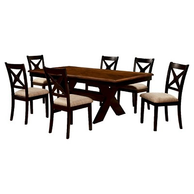 Attractive 7 Pieces Dining Table Set Wood/Black/Brown   Furniture Of America