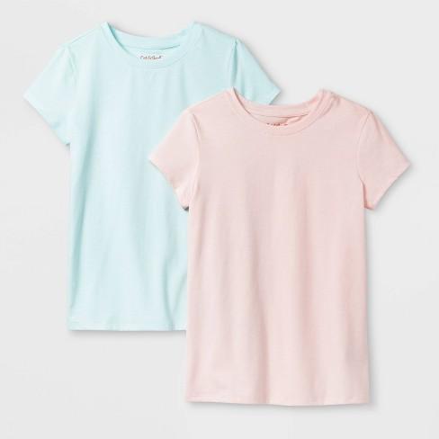 Girls' 2pk Solid Short Sleeve T-Shirt - Cat & Jack™ Pink/Aqua XL - image 1 of 1