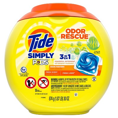 Tide Simply Pods Odor Rescue Fresh Linen Scent Liquid Laundry Detergent 3-in-1 Powerful Detergent, Odor Fighters - 55ct
