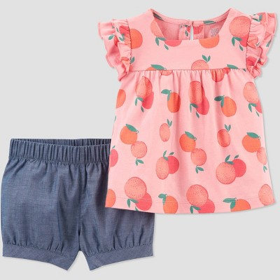 Baby Girls' Printed Top & Bottom Set - Just One You® made by carter's Orange