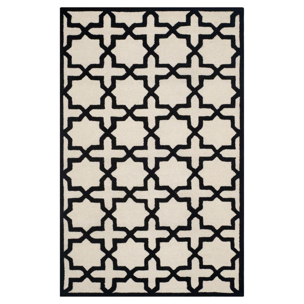 Marnie Texture Wool Rug - Ivory / Black (4' X 6') - Safavieh, Ivory/Black