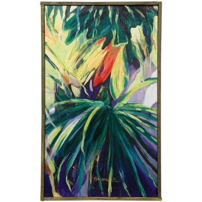 Natural Wood Fauna Tropics Embellished Hand Painting on Stretched Unframed Wall Canvas - StyleCraft